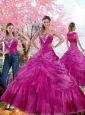 2015 Luxurious Fuchsia Quinceanera Dress with Beading and Pick Ups