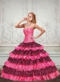 2015 New Style Printed Sweetheart Ruffled Quinceanera Dresses in Hot Pink and Black