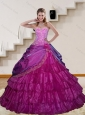 2015 The Most Popular Appliques and Ruffled Layers Fuchsia Sweet 15 Dresses