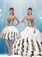 2015 White Strapless Leopard Printed Quinceanera Dresses with Pick Ups