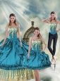 Brand New Off The Shoulder Teal Sweet 15 Dresses with Pick Ups and Embroidery