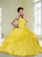 Brand New Yellow Strapless 2015 Quinceanera Dresses with Beading