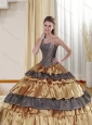 Detachable Strapless Leopard 2015 Gold Quince Dress with Ruffled Layers and Beading
