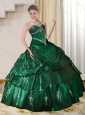 Dynamic 2015 Sweetheart Dark Green Quinceanera Dresses with Beading and Appliques