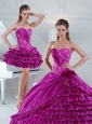 Dynamic Fuchsia Quince Dress with Beading and Ruffled Layers for 2015