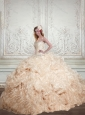 Feminine Champagne Sweetheart 2015 Quinceanera Dresses with Beading and Ruffles