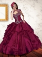 Gorgeous 2015 Appliques and Beading Quinceanera Dresses in Burgundy