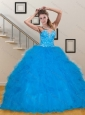 Luxurious Teal Sweetheart 2015 Quinceanera Dresses with Sequins and Ruffles
