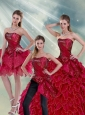 New Style 2015 Ruffles and Beading Quince Dresses in Wine Red
