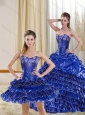 Perfect Royal Blue Sweetheart Quince Dress with Beading and Ruffled Layers