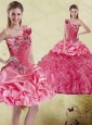 Pretty Watermelon 2015 Quinceanera Dress with Appliques and Ruffles