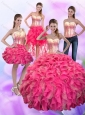 The Most Popular Multi Color Dress for Quinceanera with Ruffles and Beading