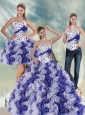 2015 Beautiful White and Purple Quinceanera Dress with Ruffles and Beading