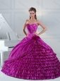 2015 Elegant Fuchsia Quince Dress with Beading and Ruffled Layers