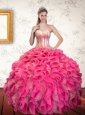 2015 Multi Color Sweetheart Quince Dress with Ruffles and Beading