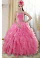 2015 Pretty Rose Pink Quinceanera Dresses with Ruffles and Beading
