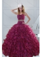 Beautiful Beading and Ruffles Quinceanera Dresses in Burgundy