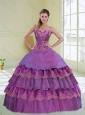 New Style Beading and Ruffled Layers Purple Quinceanera Dress