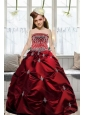 Adorable 2015 Strapless Wine Red Embroidery Little Girl Pageant Dresses