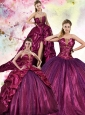 2015 Popular Sequins and Pick Ups Sweet 15 Quinceanera Dress in Fuchsia