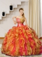 Detachable Multi Color Sweet 15 Quinceanera Dress with Beading and Ruffles