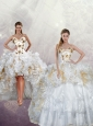 2015 New Arrival Sequins and Pick Ups Quinceanera Dress in White