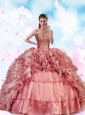 2015 Unique Beading and Ruffles Dress For Quinceanera Party in Pink