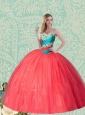 Unique Sweetheart Coral Red Quinceanera Dress With Beading and Ruffles