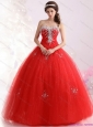 2015 New Arrival Sweetheart Red Sweet Sixteen Dresses with Rhinestones