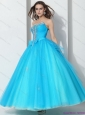 New Arrival 2015 Beading Baby Blue Quinceanera Dresses with Bownot