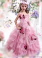 2015 Baby Pink Little Girl Pageant Dress with Hand Made Flowers and Ruffles