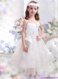 White Spaghetti Straps Little Girl Pageant Dresses with Hand Made Flower and Appliques