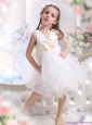 Beading Ruffled 2015 White Little Girl Pageant Dress with Bowknot