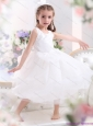 Popular Scoop White Bowknot A Line Little Girl Pageant Dresses for 2015