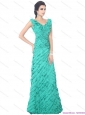 2015 Popular Apple Green Prom Dresses with Ruffled Layers