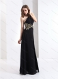 2015 Sexy One Shoulder Beading Prom Dress in Black