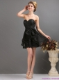 2015 Sexy Sashe Mini Length Prom Dress in Black