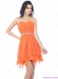 2015 Sexy Sweetheart Beading and Ruching Prom Dress in Orange