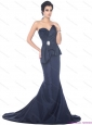 Popular Brush Train Sweetheart Beading Prom Dress in Navy Blue