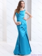 Popular One Shoulder Baby Blue Long Prom Dresses with Brush Train