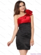 Popular One Shoulder Ruching and Hand Made Flowers Prom Dresses in Red and Black