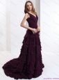 Popular V Neck Prom Dress in Dark Purple for 2015