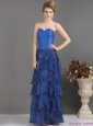 2015 Blue Sweetheart Prom Dresses with Ruffled Layers