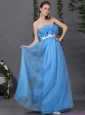 2015 Elegant Long Prom Dresses with Hand Made Flowers and Sash
