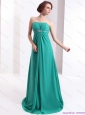 Elegant 2015 Strapless Brush Train Prom Dress with Beading and Ruching