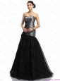 Elegant Appliques Ruching Brush Train Prom Dresses in Silver and Black