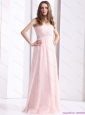 Elegant Baby Pink Strapless Prom Dresses with Ruching and Beading