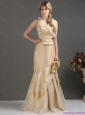 Elegant Champagne Long Prom Dresses with Ruffles and Hand Made Flower