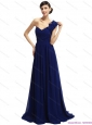 Elegant One Shoulder Ruffled Navy Blue Prom Dresses with Hand Made Flower