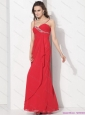 Elegant Red Spaghetti Straps Prom Dresses with Ruching and Beading